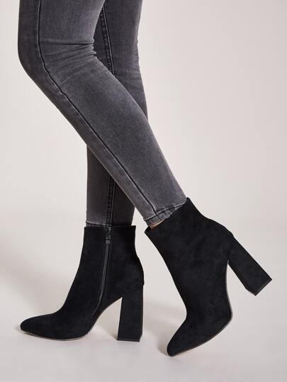 Suede Side Zip Chunky Boots