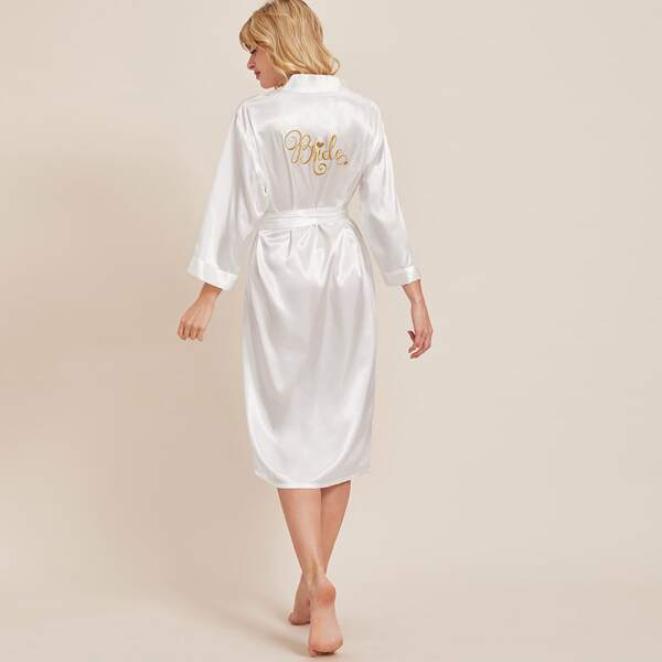 Letter Embroidery Belted Satin Robe, White