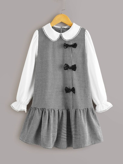 Girls Peter-pan Collar Flounce Sleeve Bow Detail Houndstooth Dress