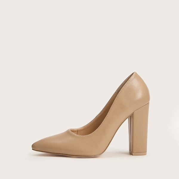 Point Toe Chunky Heels, Khaki