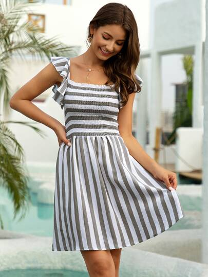 Ruffle Trim Smocked Bodice Striped Dress