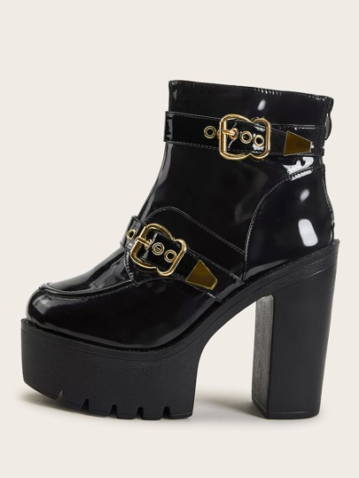 Patent Buckle Decor Zip Back Chunky Heeled Boots