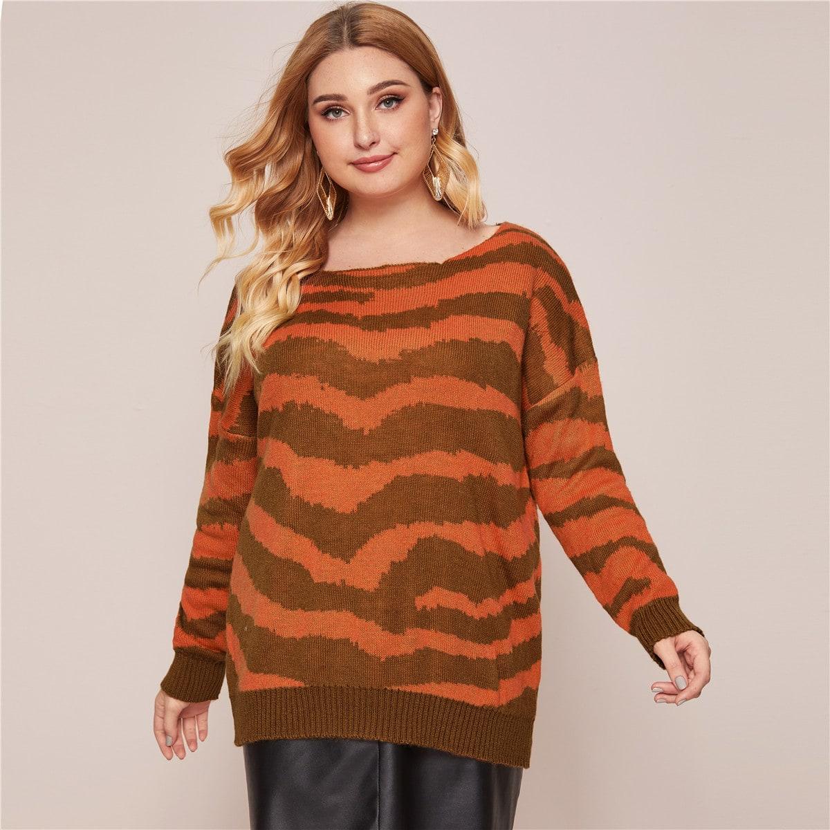 Тигровый полосатый свитер размера плюс