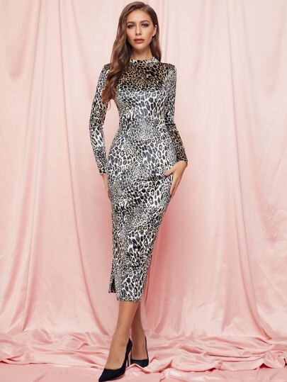 SBetro Mock-neck Leopard Velvet Bodycon Dress