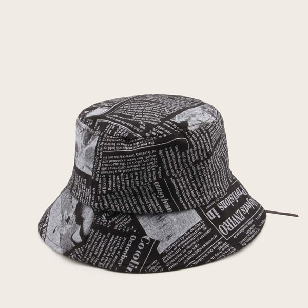 Men Letter Graphic Bucket Hat, Black and white