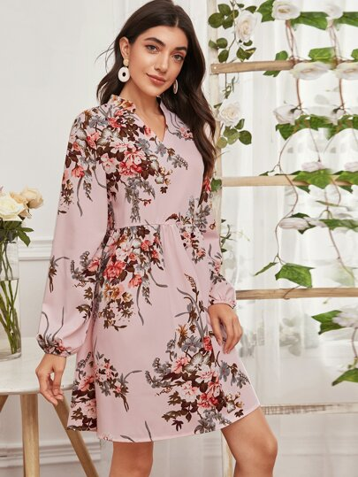 Notched Floral Print Dress