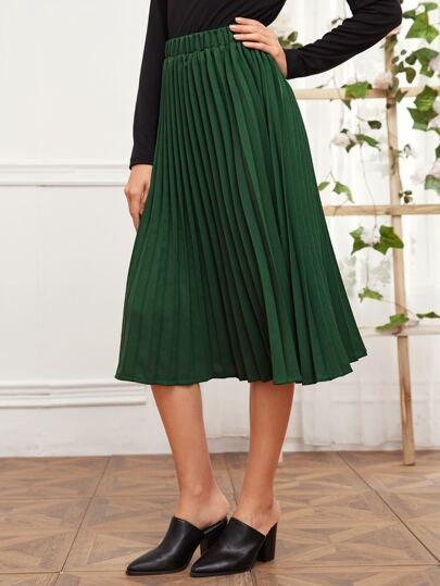 Elastic Waist Pleated Solid Skirt