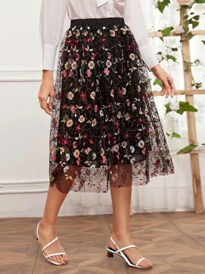 Floral Embroidered Mesh Overlay Skirt