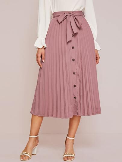 Belted Button Front Pleated Skirt
