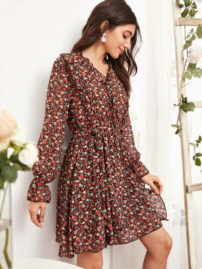 Ditsy Floral Print Knot Front Ruffle Trim Dress