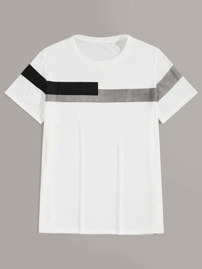 Men Contrast Panel Short Sleeve Tee
