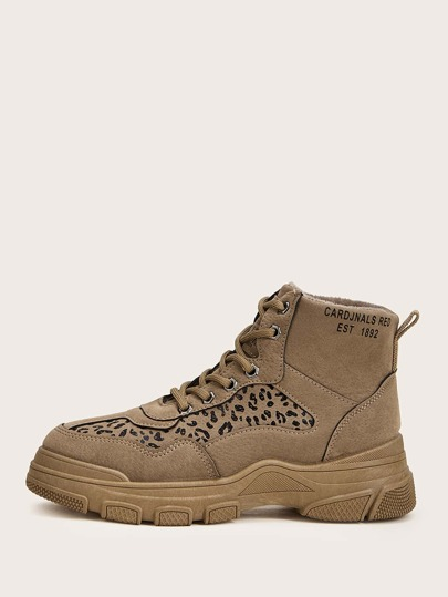 Lace-up Front Leopard Hiking Boots