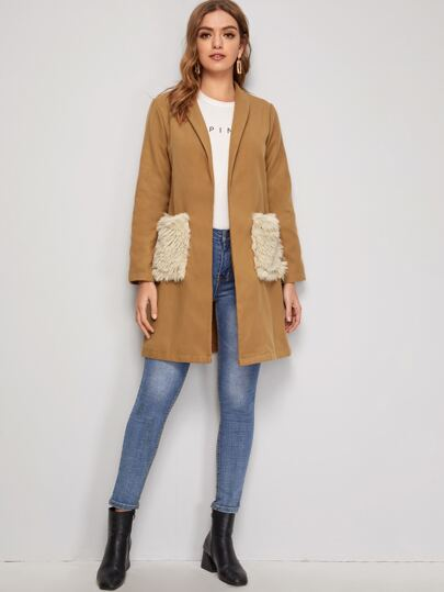Contrast Faux Fur Pocket Shawl Collar Overcoat
