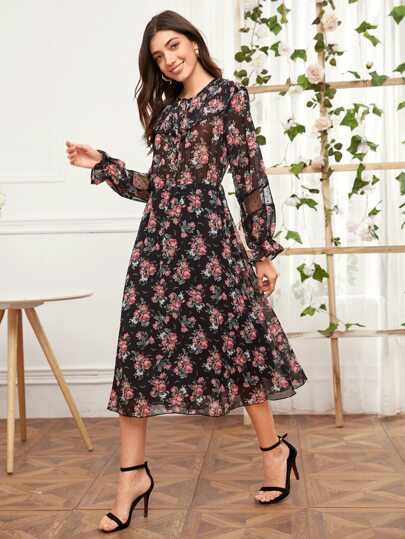 Knot Front Floral Print Ruffle Trim Dress