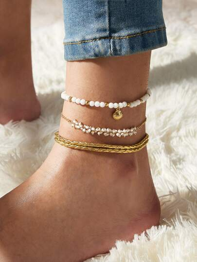 3pcs Shell Dangle Beaded Anklet Set