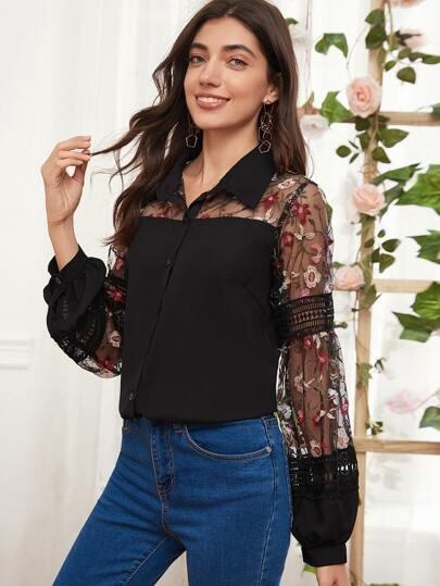 Floral Embroidered Contrast Mesh Blouse