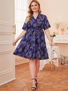 plus allover print belted shirt dress