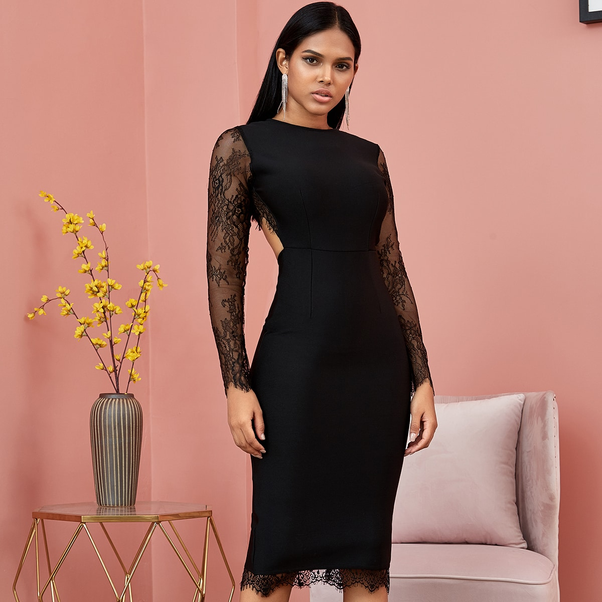 облегающее платье с кружевом и открытой спиной