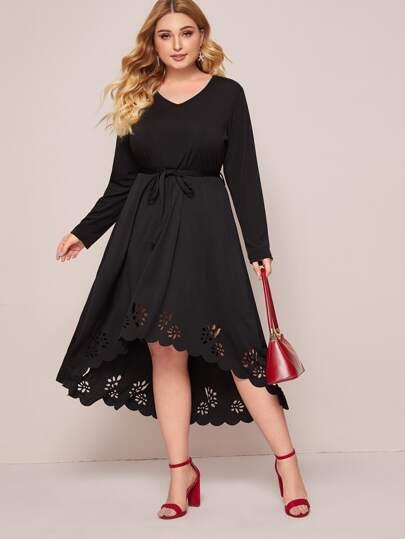 Plus Laser Cut Belted A-line Dress