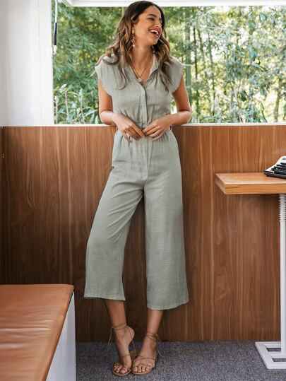 Simplee Buckle Belted Button Front Shirt Jumpsuit