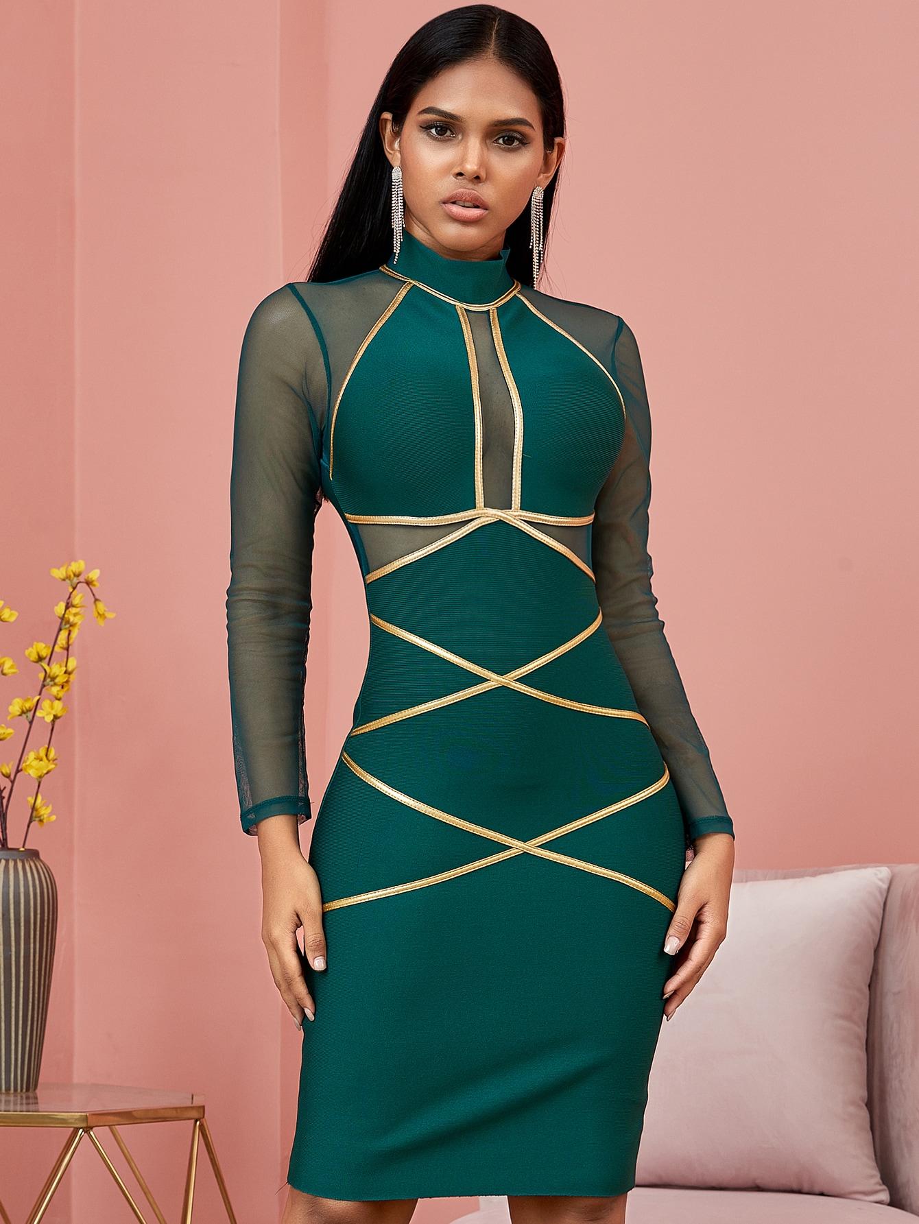 contrast binding mesh insert bodycon dress
