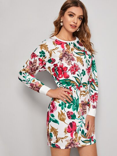 Floral Print Crew Neck Sweatshirt Dress