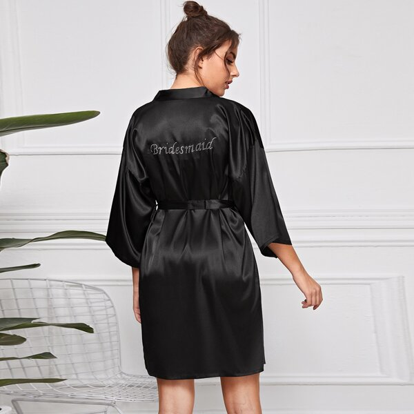Letter Graphic Belted Satin Robe, Black