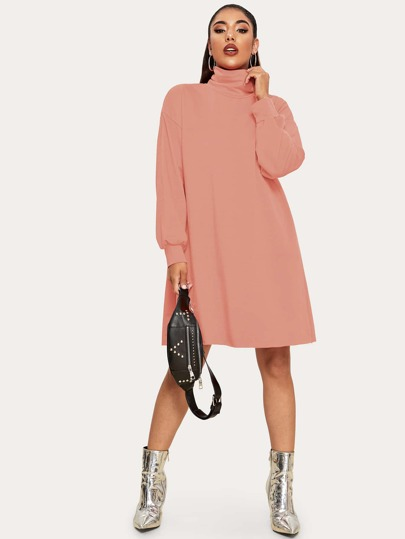 Solid High Neck Sweatshirt Dress