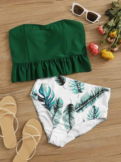 Tropical Frill Trim Bandeau High Waisted Bikini Swimsuit