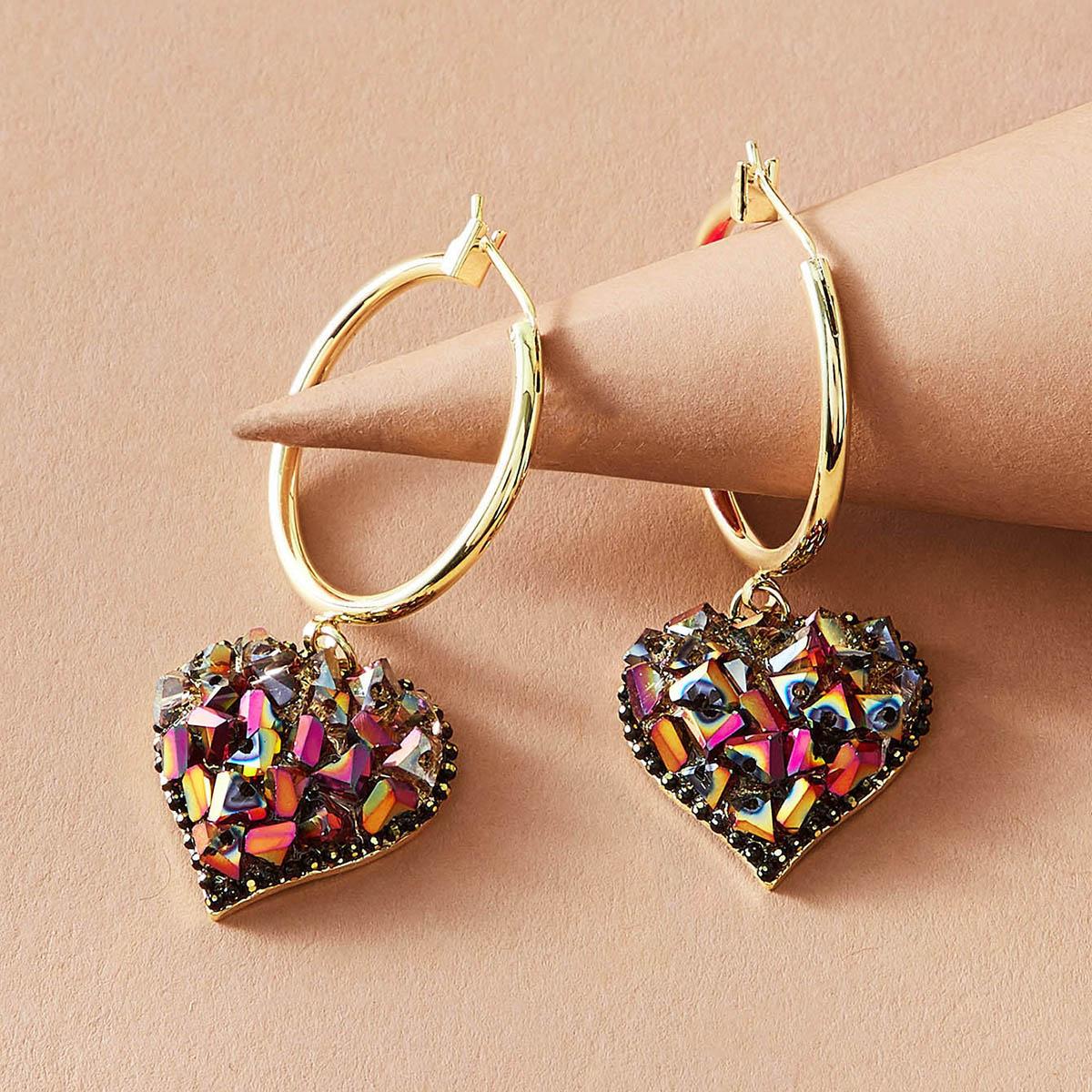 1 Paar runde Dekor-Herz-Tropfen-Ohrringe