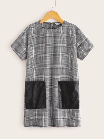 Girls Contrast PU Patch Pocket Plaid Dress