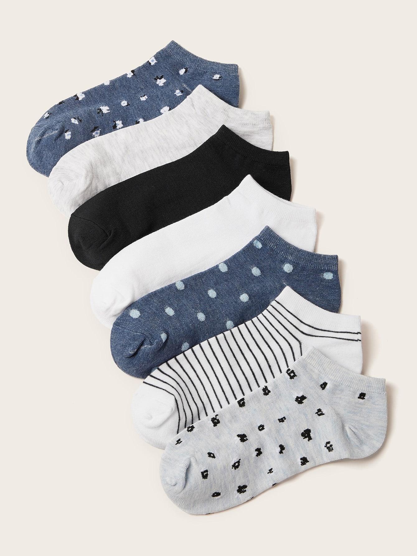 7pairs Striped & Polka Dot Pattern Socks thumbnail