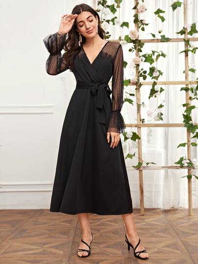 Belted Contrast Mesh Flounce Sleeve Dress