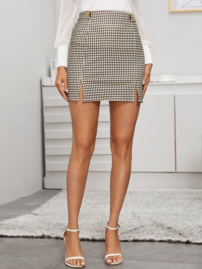 Houndstooth Print Split Detail Skirt