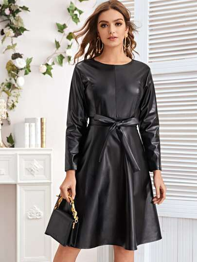 Belted PU Leather A-Line Dress