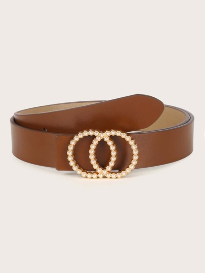Faux Pearl Double O-ring Belt