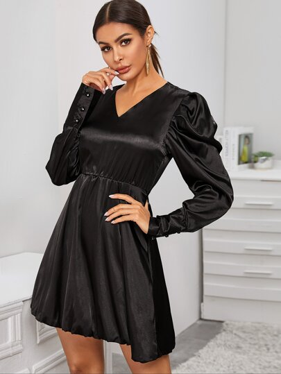 V-neck Leg-of-mutton Sleeve Satin Dress