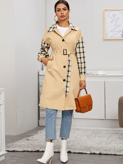 Belted Plaid Contrast Lapel Collar Coat