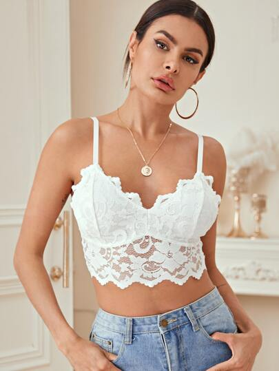 Solid Lace Crop Cami Top