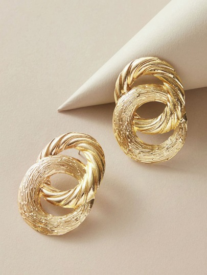 1pair Round Link Earrings
