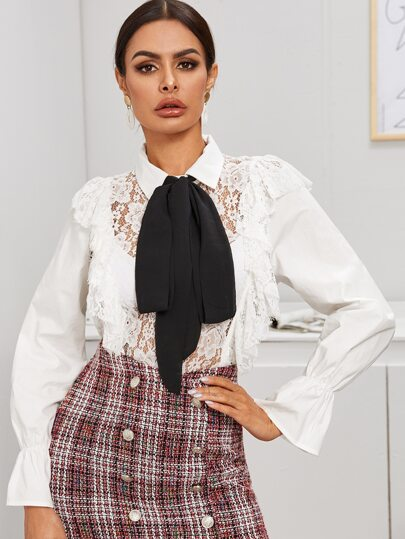 Tie Front Button Through Contrast Lace Sheer Blouse