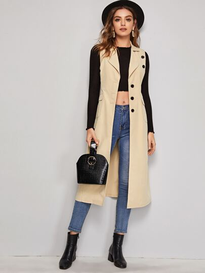 Solid Lapel Neck Button Detail Vest Coat