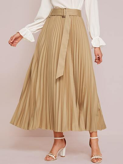Solid Belted Maxi Pleated Skirt