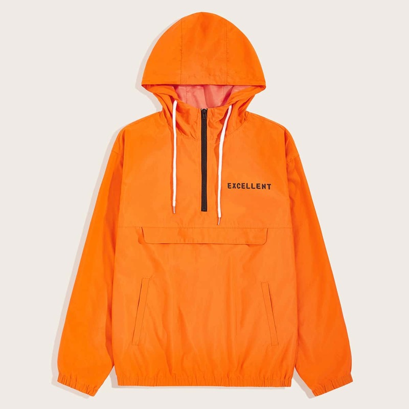 Guys Neon Orange Letter Graphic Zip Up Hoodie, Orange bright