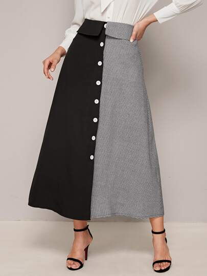 Two Tone Button Up Skirt
