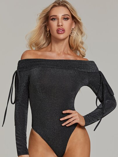 Glitter Off Shoulder Drawstring Detail Bodysuit