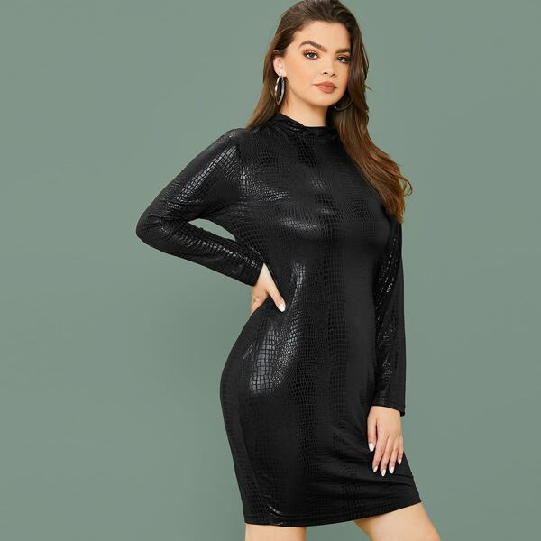 Plus Mock Neck Crocodile Embossed Bodycon Dress, Black