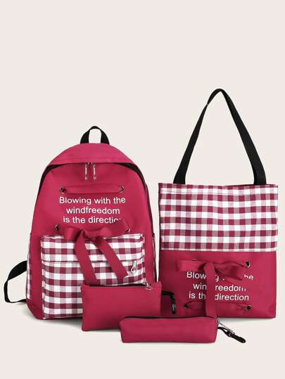 4pcs Gingham Bow Decor Backpack With Pencil Case