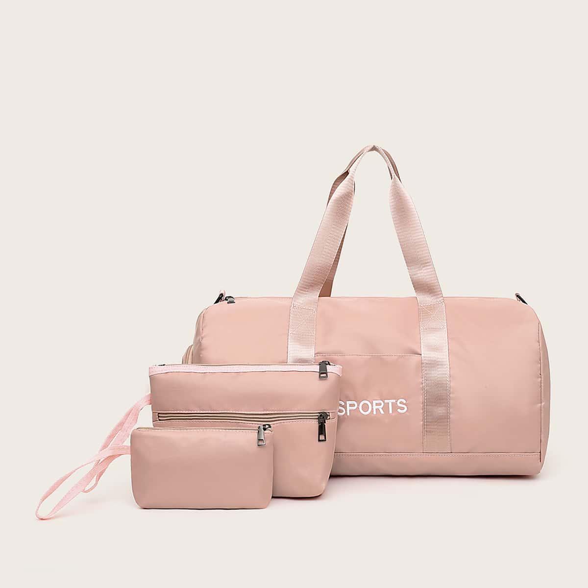 Сумка-клатч и сумка-дафл с текстовой вышивкой 3шт
