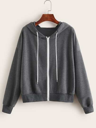 Drawstring Zip Up Hooded Sweatshirt